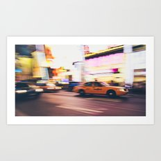 Taxi at Times Square, NYC Art Print