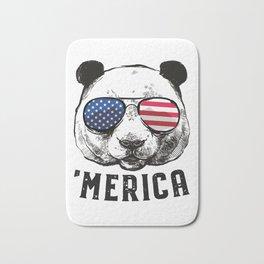 Panda Bear American Flag 4th of July Merica Sunglasses Gift Bath Mat