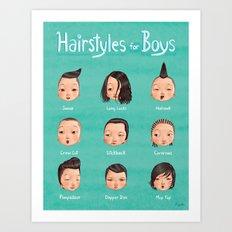 Hairstyles For Boys Art Print