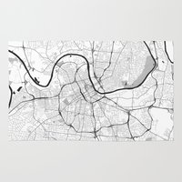 nashville Area & Throw Rugs featuring Nashville Map Gray by City Art Posters