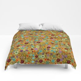 Playful Watercolor dots pattern - Gold Comforters