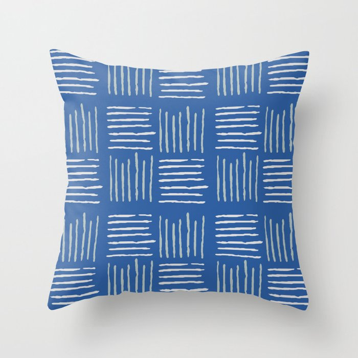 Geometrical grey lines pattern on blue Throw Pillow