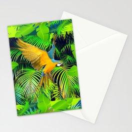 BLUE & GOLD MACAW JUNGLE  ART DESIGN Stationery Cards