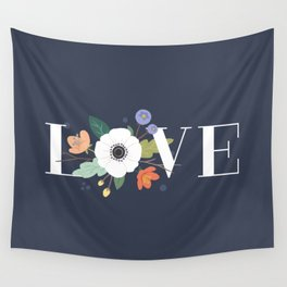 Floral Love - Midnight Wall Tapestry