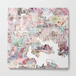 Baltimore map flowers Metal Print