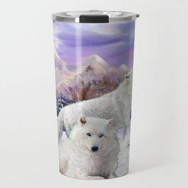 Snow Wolves of the Wilderness Travel Mug