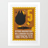 millenium falcon Art Prints featuring Beyond imagination: Millenium Falcon postage stamp  by Chungkong
