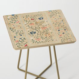 Uzbekistan Suzani Nim Embroidery Print Side Table