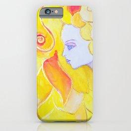 Lady Autumn Watercolor Art Nouveau Gold iPhone Case