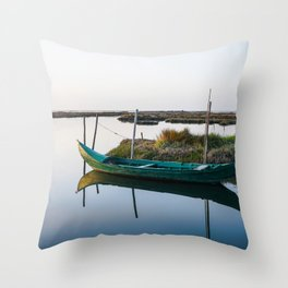 Weathered small boat close to peaceful shore in a beautiful lagoon on bright day. Throw Pillow
