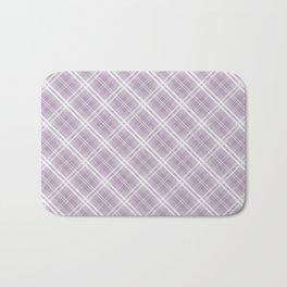 Dark Chalky Pastel Purple and White Tartan Plaid Check Bath Mat