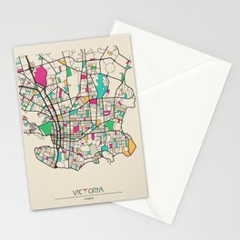 Colorful City Maps: Victoria, Canada Stationery Cards