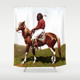 "Western Art ""Comanche Brave"" by Frederic Remington Shower Curtain"
