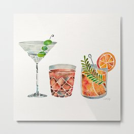 Classic Cocktails  – 1960s Watercolor Lineup Metal Print