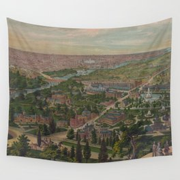 Vintage Pictorial Map of Philadelphia PA (1876) Wall Tapestry