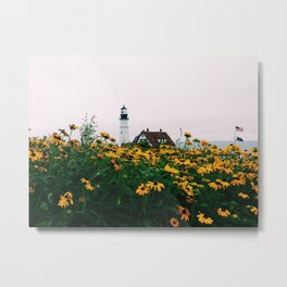 Portland Headlight and Flowers Metal Print