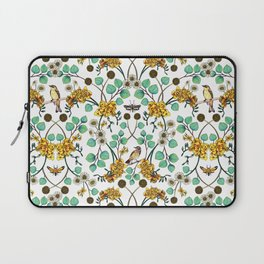 Warblers & Moths - Yellow & Teal Spring Floral/Bird Pattern Laptop Sleeve