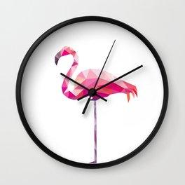 Geometric Flamingo Wall Clock