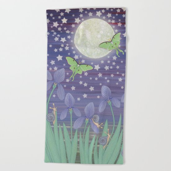 Moonlit stars, luna moths, snails, & irises Beach Towel