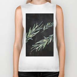 Eucalyptus leaves on chalkboard Biker Tank