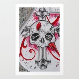 Cracked Skull Art Print