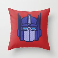 optimus prime Throw Pillows featuring Optimus Prime by M. Gulin