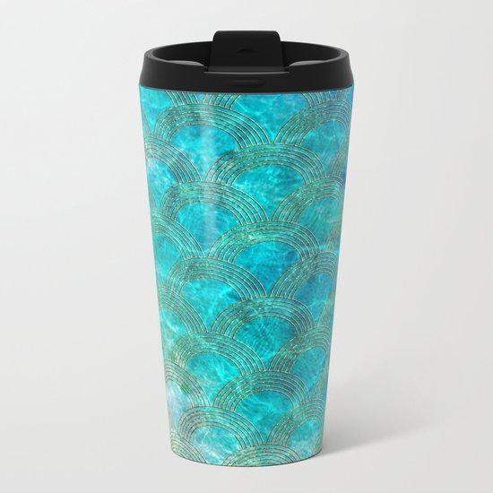 Sea Ocean Waves effect- Gold and Aqua Scales Pattern Metal Travel Mug