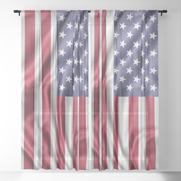 Flag of United States of America Sheer Curtain