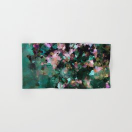 Contemporary Abstract Wall Art in Green / Teal Color Hand & Bath Towel