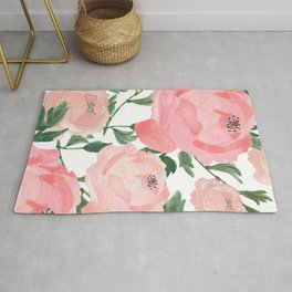 Peony Watercolor Collage Rug