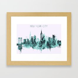 New York City blue watercolor skyline Framed Art Print