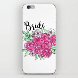Bride Wedding Pink Roses Watercolor iPhone Skin