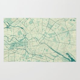 Berlin Map Blue Vintage Rug