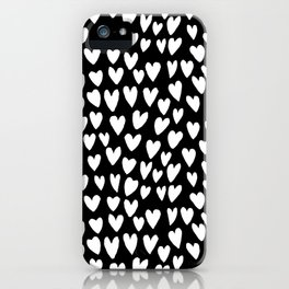 Linocut printmaking hearts pattern minimalist black and white heart gifts iPhone Case