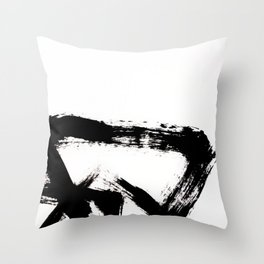 Brushstroke [8] - a simple, abstract, black and white india ink piece Throw Pillow