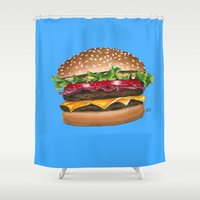 junk food Shower Curtains featuring junk food - burger by Bleachydrew