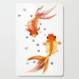 Goldfish, two fish, Koi Asian Style watercolor art, feng shui Cutting Board