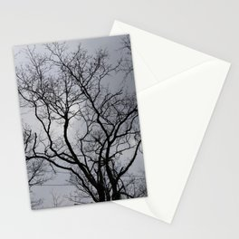 Black naked trees, creepy forest Stationery Cards