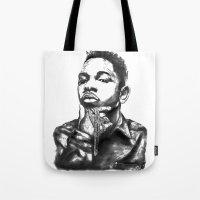 kendrick lamar Tote Bags featuring Kendrick Lamar Lithograph by Drewnelz