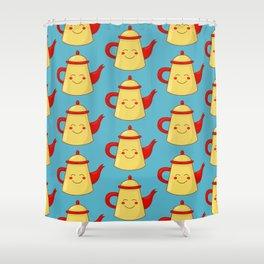 Tea pot smile Shower Curtain