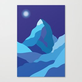 Icy winter Matterhorn mountain in blue colors Canvas Print