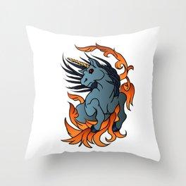 unicorn old school tattoo. Throw Pillow