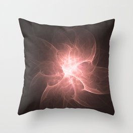 Peach Flower Fractal Throw Pillow