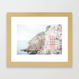 Positano, Italy pink-peach-white travel photography in hd. Framed Art Print
