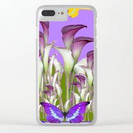 ART NOUVEAU PURPLE CALLA LILIES & BUTTERFLY FLOWERS ART Clear iPhone Case