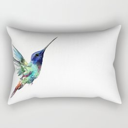 Flying Hummingbird flying bird, turquoise blue elegant bird minimalist design Rectangular Pillow