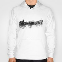 seoul Hoodies featuring Seoul skyline in black watercolor by Paulrommer