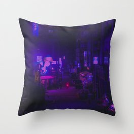 Vaporwave Vibes Alleyway Throw Pillow