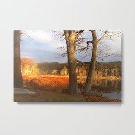 Delaware River Glowing Fall Foliage Metal Print