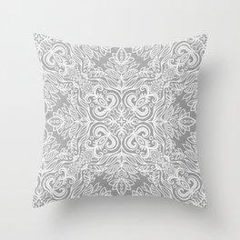 Monochrome White and Grey Textured Folk Art Doodle  Throw Pillow